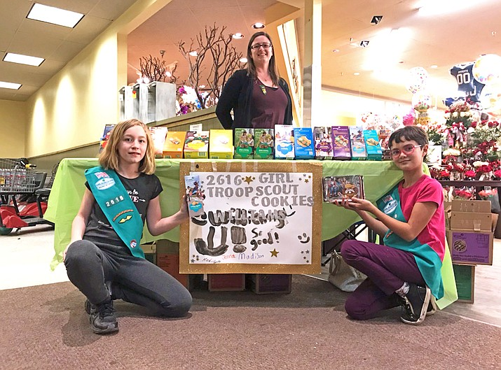 Brownie Troop 2616 has been selling Girl Scout cookies at Safeway and Old Trails True Value this month. (Loretta Yerian/WGCN)