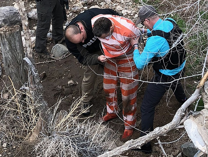 At about 2 p.m., Long was spotted hiding in a culvert in a wash on Chestnut Street in Kingman. Verbal commands were given for Long to exit the culvert, and he complied. Long was placed in custody and escorted to the Mohave County Adult Detention Facility. (Photo courtesy MCSO)