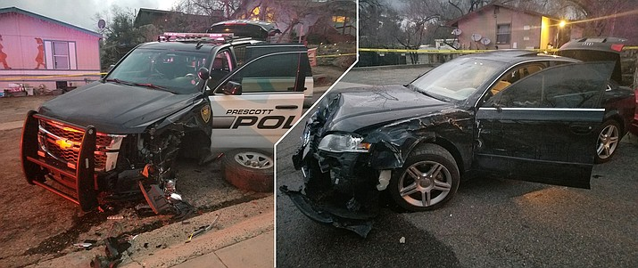 A composite of the two photos provided by the Prescott Police Department show the black 2006 Audi driven by 42-year-old Henry Hobson of Prescott that smashed into a Prescott Police Department SUV after a police chase Monday afternoon, Feb. 4. (Illustrated by Matt Van Doren/Courier illustration)
