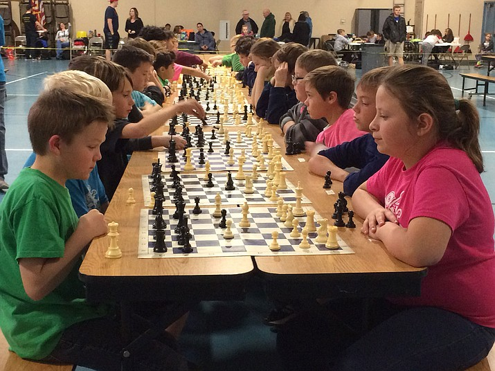 Hualapai Elementary School's Luke Connell, in front on the left, matched wits with Alexis Harper from KAOL on the right. Connell won the Intermediate Division, grades 4-5, and Harper came in second. (Courtesy)