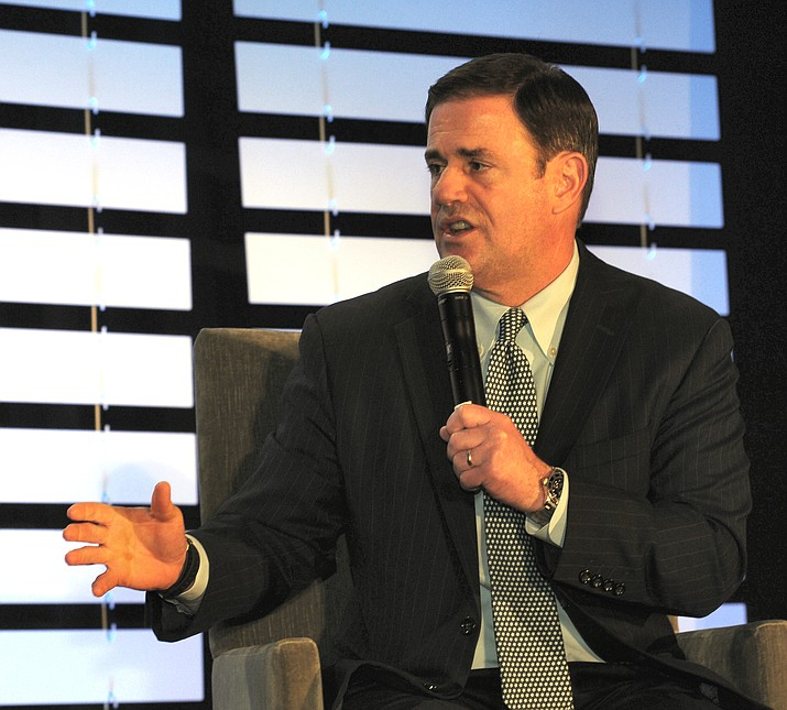 Gov. Doug Ducey discusses his priorities at an event with the state business community Jan. 11, 2019. Ducey has no plans to make a counter offer after he vetoed legislation last week which would have offset higher tax revenues from conformity with the Internal Revenue Code with an across-the-board cut in income tax rates. (Howard Fischer/Capitol Media Services)