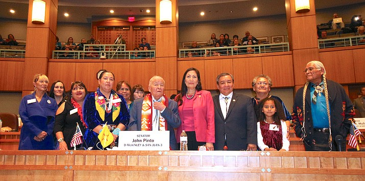 Navajo Nation Council Delegate Amber Crotty joins New Mexico Senator John Pinto in honoring Cogresswoman Debra Haaland in her work to advocate for Missing and Murdered Indigenous Women. (Photo/Office of the Speaker)