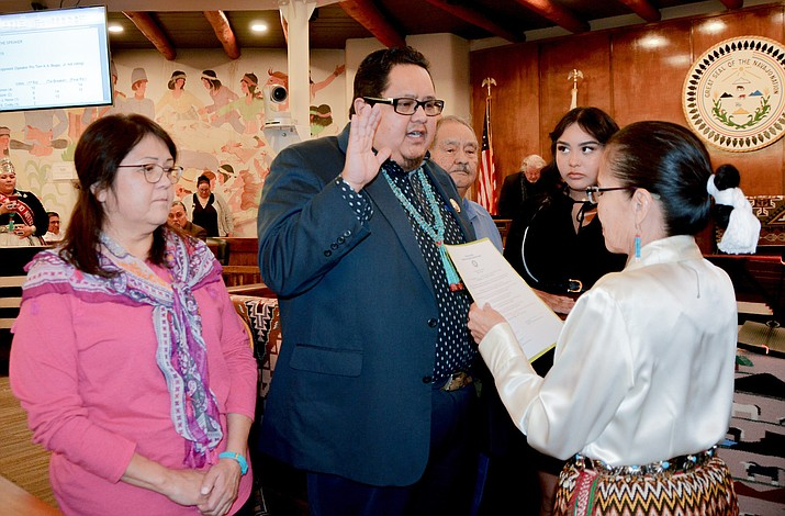 Navajo Nation Chief Justice JoAnn Jayne administers the oath of office to Speaker Seth Damon at the Navajo Nation Council Chambers Jan. 28 in Window Rock, Arizona. (Photo/Courtesy of the Office of the Speaker)