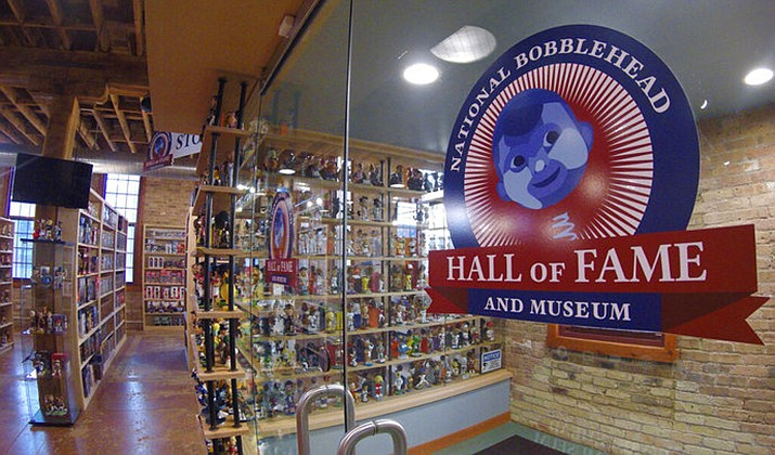 This Jan. 8, 2019 photo shows the National Bobblehead Hall of Fame and Museum in Milwaukee. The new museum will be displaying more than 6,500 figures of athletes, mascots, celebrities, animals, cartoon characters, politicians and more. (AP Photo/Carrie Antlfinger)