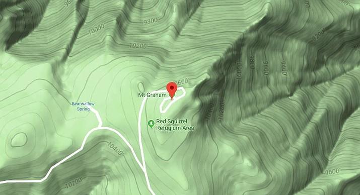 Mount Graham, Arizona (Google Map)