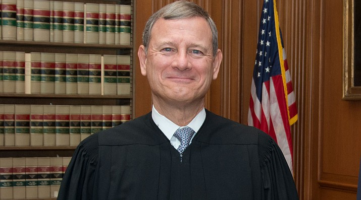 It was the fourth time in recent weeks that Roberts held the decisive vote on 5-4 outcomes that otherwise split the court's conservative and liberal justices. (Photo by Franz Jantzen, Collection of the Supreme Court of the United States [Public domain], via Wikimedia Commons)