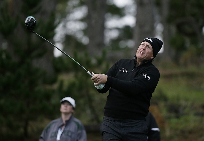 Phil Mickelson follows his drive from the 11th tee of the Spyglass Hill Golf Course during the second round of the AT&T Pebble Beach National Pro-Am golf tournament Friday, Feb. 8, 2019, in Pebble Beach, Calif. (Eric Risberg/AP)