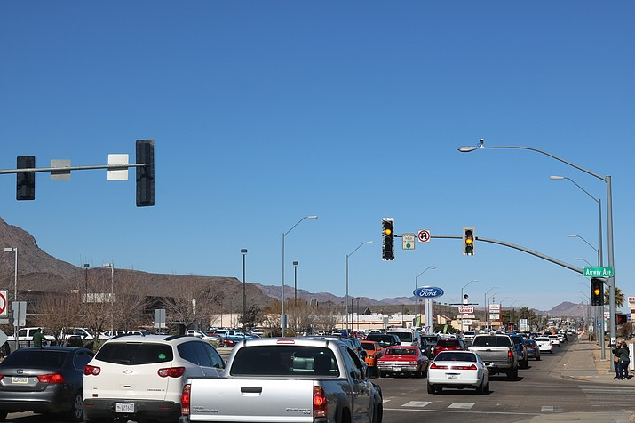 Traffic at Stockton Hill Road and Airway Avenue was jammed during the afternoon of Friday, Feb. 8, 2019. It is expected to get even more crowded beginning, Wednesday, Feb. 13, as the Stockton Hill project moves into the intersection. (Photo by Travis Rains/Daily Miner)