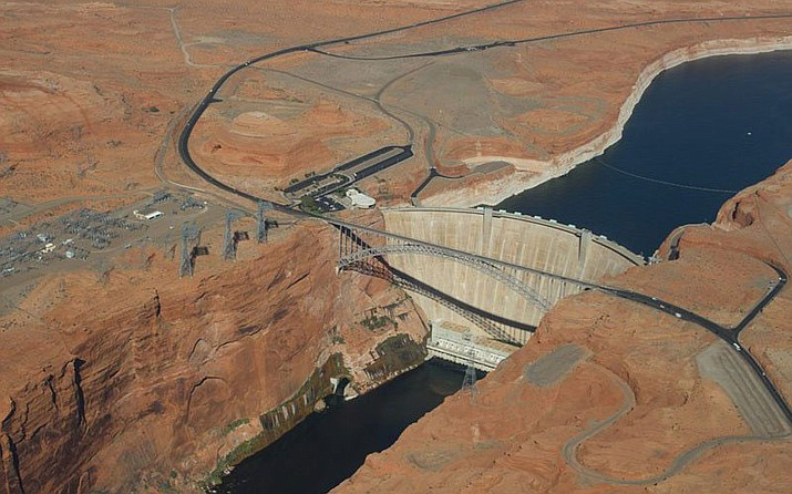The fate of Lake Powell on the Utah-Arizona state line is the second largest reservoir on the Colorado, behind Lake Mead. Both are under considerable stress from overallocation and the aridification of the West. (Photo by Luke Runyon/KUNC/Lighthawk)