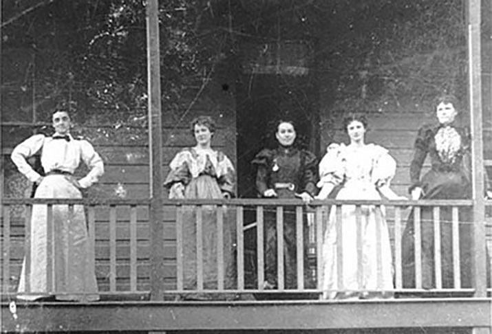 Jennie Bauters, the woman dressed in black at the center, was a Belgian madame who owned and operated a brothel in Jerome. It is said that Bauters was the richest woman in the Arizona Territory at the time of her death in 1905. (Photo courtesy Mohave Museum of History and Arts)