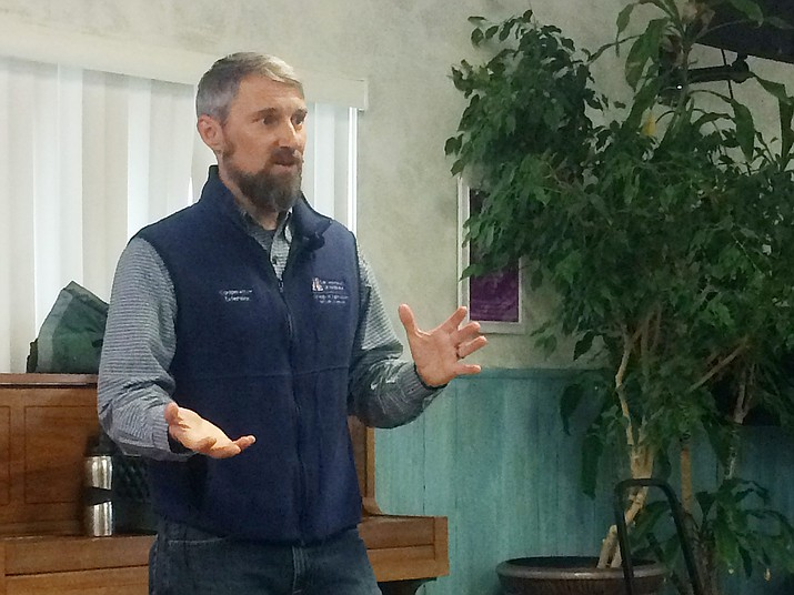 Dr. Michael Crimmins speaks at Citizens Water Advocacy Group meeting on Saturday, Feb. 9. (Jason Wheeler/Courier)