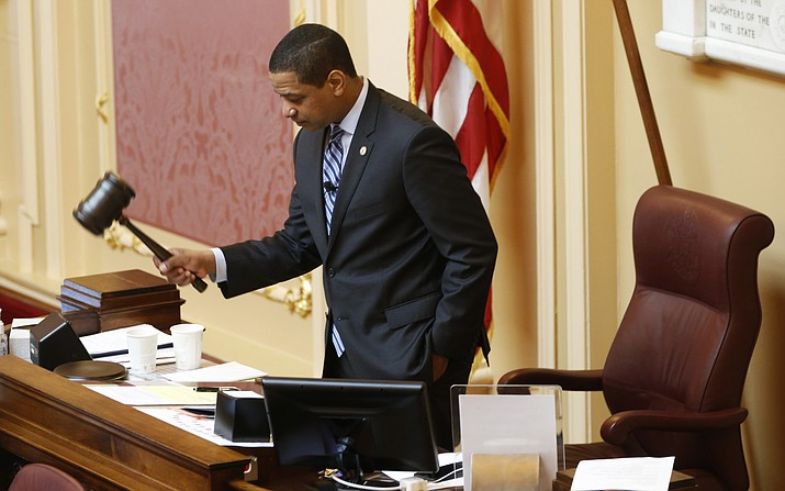 Virginia Lt. Gov. Justin Fairfax, gavels the session to order at the start of the Senate session at the Capitol in Richmond, Va., Friday, Feb. 8, 2019. (Steve Helber/AP)