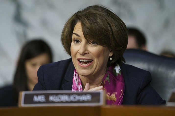 In this Jan. 15, 2109 file photo, Senate Judiciary Committee member Sen. Amy Klobuchar, D-Minn., during a Senate Judiciary Committee hearing on Capitol Hill in Washington. (Carolyn Kaster/AP)