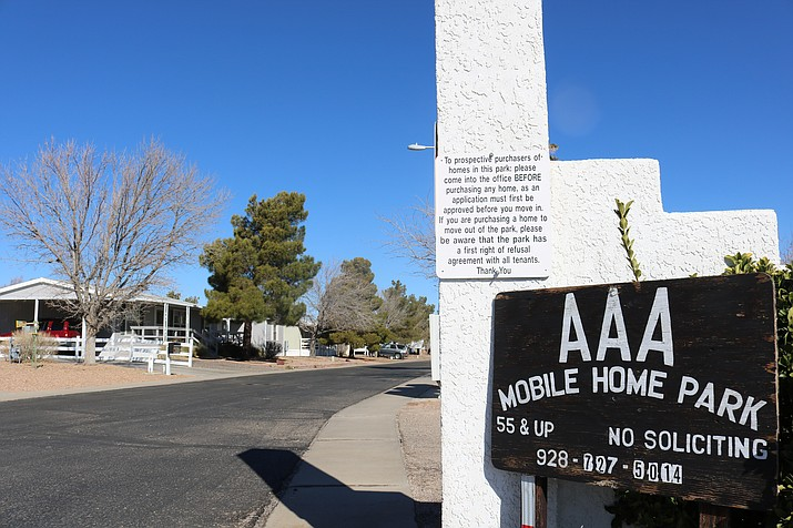 The commission will consider a conditional use permit from applicant Ava Page of AAA Mobile Home Park, located at 2023 E. Morrow Ave. That permit would allow park-model homes to be considered recreational vehicles. If approved, six spaces at the park could be occupied by park-model homes. (Photo by Travis Rains/Daily Miner)