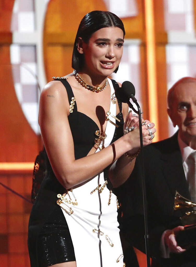 Dua Lipa accepts the award for best new artist at the 61st annual Grammy Awards on Sunday, Feb. 10, 2019, in Los Angeles. (Photo by Matt Sayles/Invision/AP)