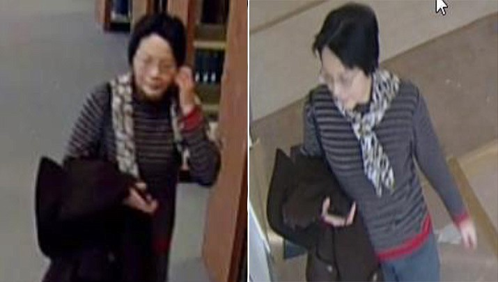 """A woman in her 50s wearing a multicolored scarf has been approaching Towson University Maryland students on campus showing them a photo on her cellphone and asking if they would date her son. Campus police issued an """"incident advisory."""" (Towson University Police Department)"""