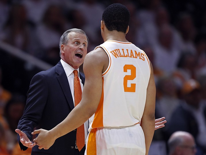 Tennessee coach Rick Barnes talks with forward Grant Williams (2) during the second half of an NCAA college basketball game against Florida on Saturday, Feb. 9, 2019, in Knoxville, Tenn. Tennessee won 73-61. (Wade Payne/AP)