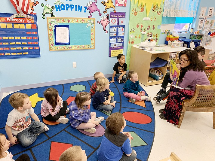 Verde Valley First Books Readers continue to come once a month, reading books with our Head Start Students and our Preschool students. Photo courtesy Beaver Creek School District