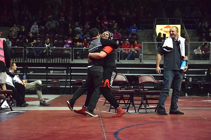 Mingus senior Danni Schulz celebrates winning the state championship at the first AIA girls state wrestling tournament on Friday night at the Findlay Toyota Center in Prescott Valley. VVN/James Kelley