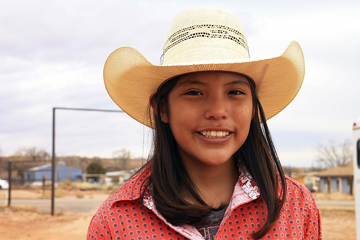 Shilah Williams of Tuba City, Arizona qualified for the Jr. National Finals Rodeo last year during a Roy Cooper Jr. Calf Roping event in Window Rock. Since then Shilah went on to compete at local rodeos and in Ignacio, Colorado before heading to Las Vegas last December. (Loretta Yerian/NHO)