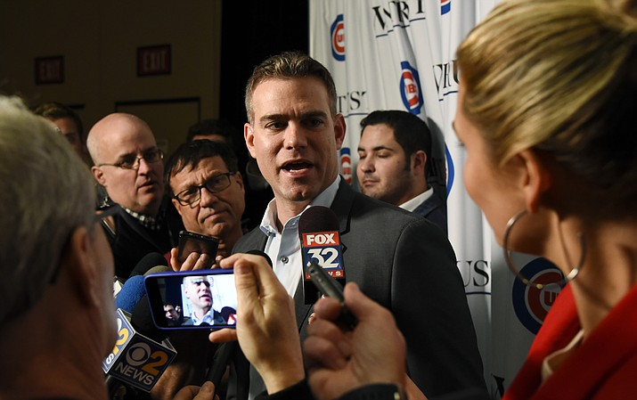 Theo Epstein, Chicago Cubs president of baseball operations talks with reporters during the team's annual convention Friday, Jan. 18, 2019, in Chicago. (Matt Marton/AP)