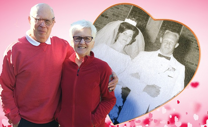 The Howards outside their Prescott home along with their wedding photo. (Nanci Hutson/Courier)