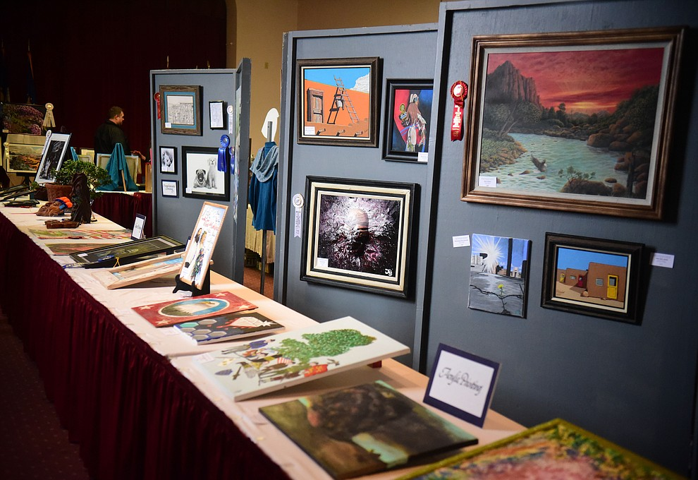 128 pieces in a variety of mediums are on display at the Prescott VA Veteran's Creative Arts Festival Wednesday, Feb. 13, 2019. This is the 25th annual show being held in Building 15, theatre. (Les Stukenberg/Courier).