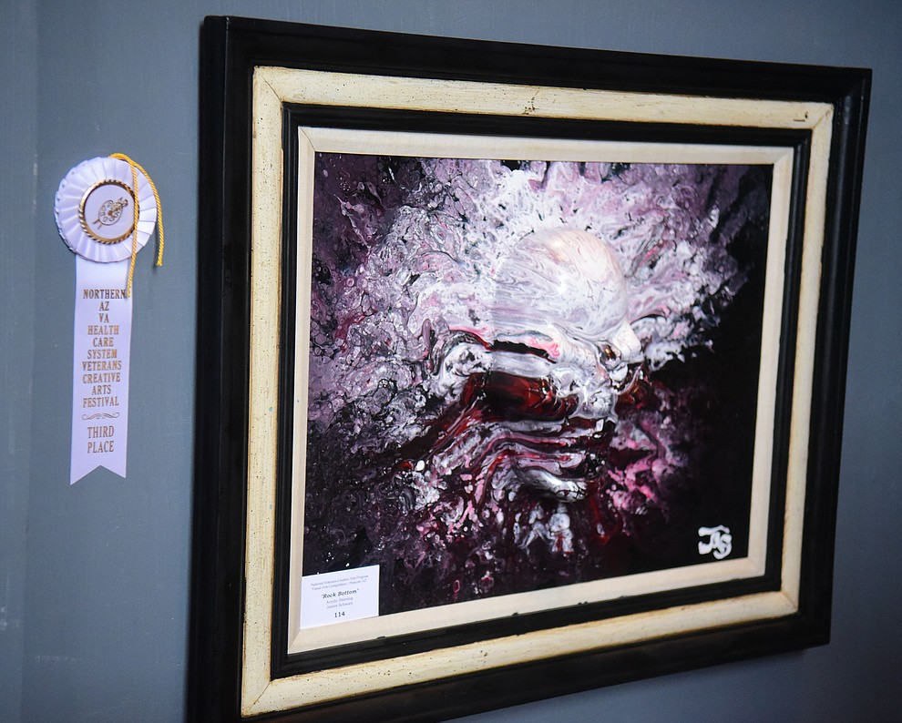 James Schwartz' acrylic painting Rock Bottom on display at the Prescott VA Veteran's Creative Arts Festival Wednesday, Feb. 13, 2019. 128 pieces are on display at the 25th annual show being held in Building 15, theatre. (Les Stukenberg/Courier).