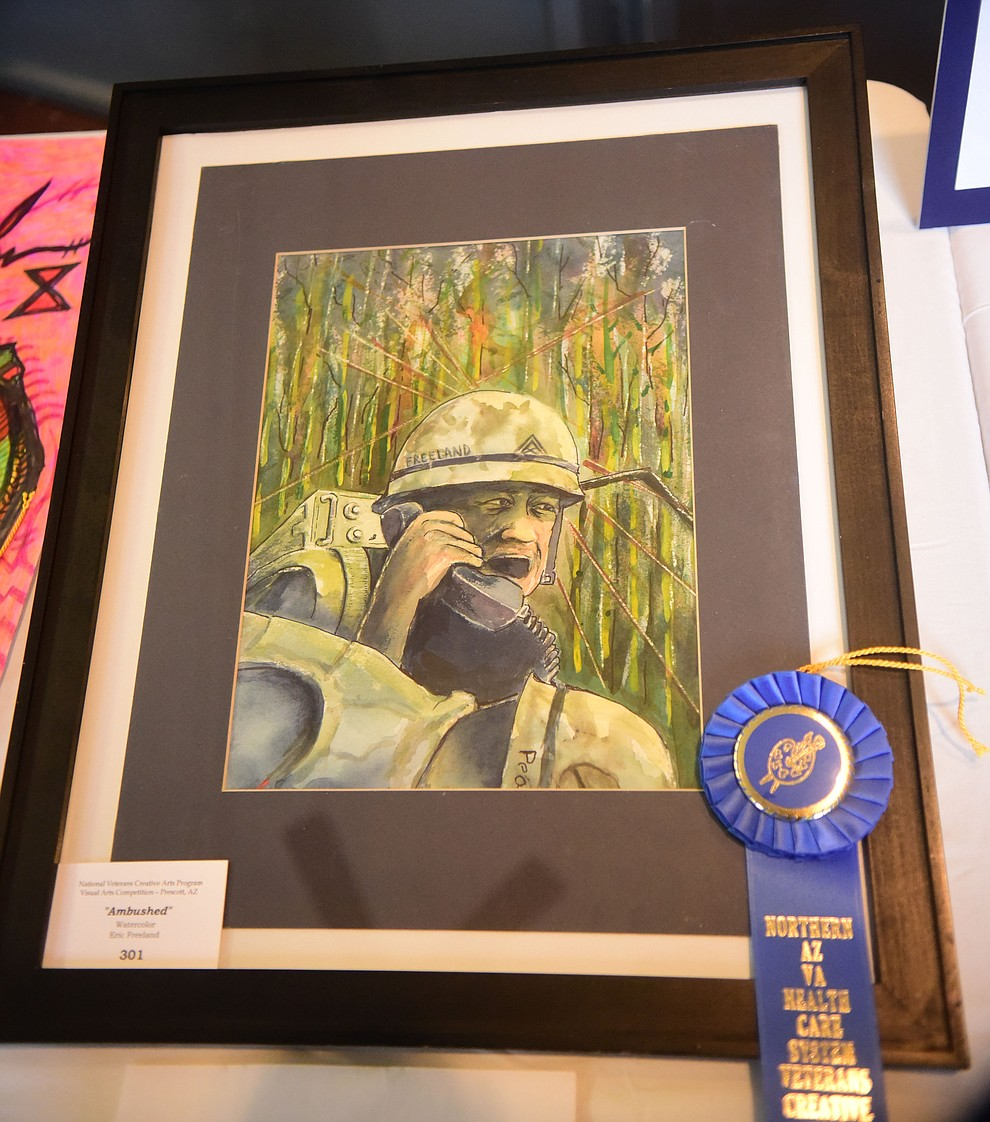 Ambushed a watercolor by Eric Freeland on display at the Prescott VA Veteran's Creative Arts Festival Wednesday, Feb. 13, 2019. 128 pieces are on display at the 25th annual show being held in Building 15, theatre. (Les Stukenberg/Courier).