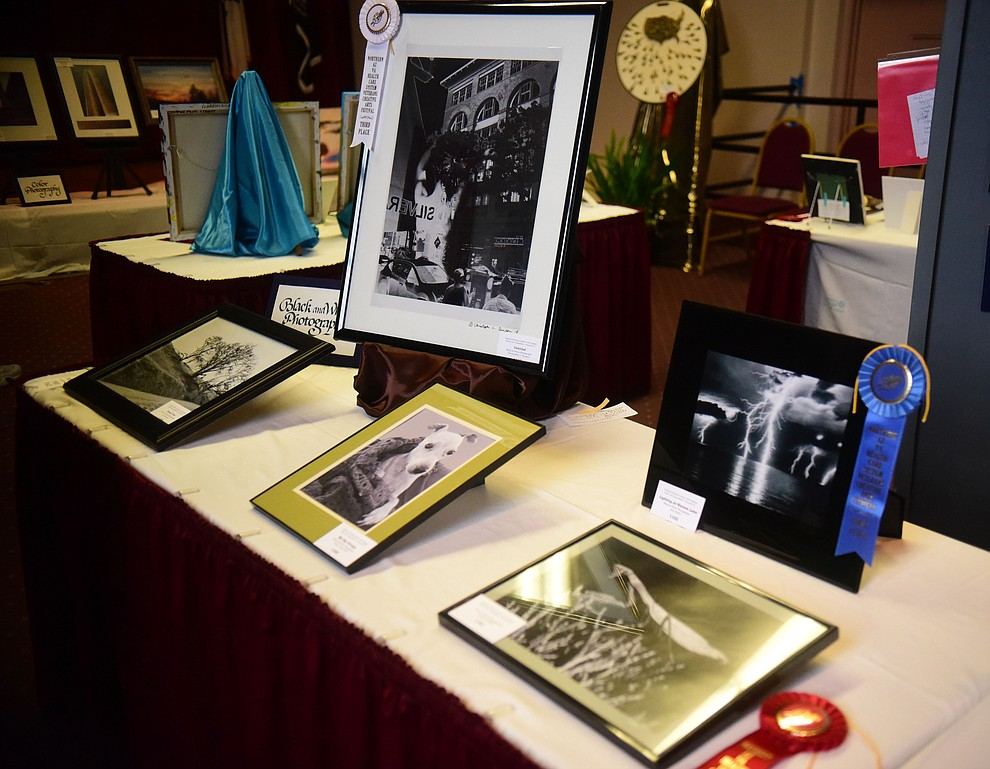 Black and white photography on display at the Prescott VA Veteran's Creative Arts Festival Wednesday, Feb. 13, 2019. 128 pieces are on display at the 25th annual show being held in Building 15, theatre. (Les Stukenberg/Courier).