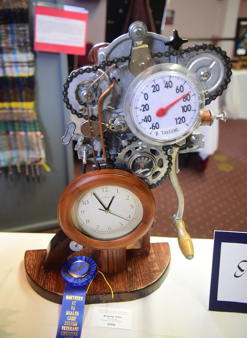 Willem Van Der Heyden created Keeping Time for the assemblage category at the Prescott VA Veteran's Creative Arts Festival Wednesday, Feb. 13, 2019. 128 pieces are on display at the 25th annual show being held in Building 15, theatre. (Les Stukenberg/Courier).