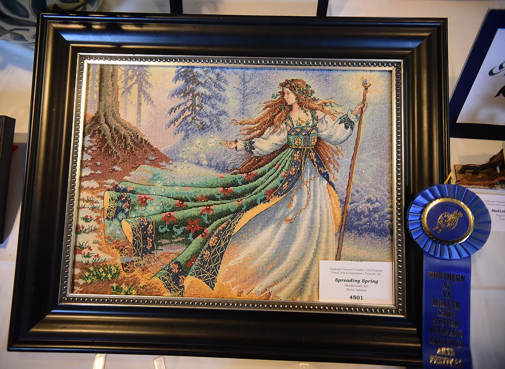 Spreading Spring a needlework kit by Betty Adams at the Prescott VA Veteran's Creative Arts Festival Wednesday, Feb. 13, 2019. 128 pieces are on display at the 25th annual show being held in Building 15, theatre. (Les Stukenberg/Courier).