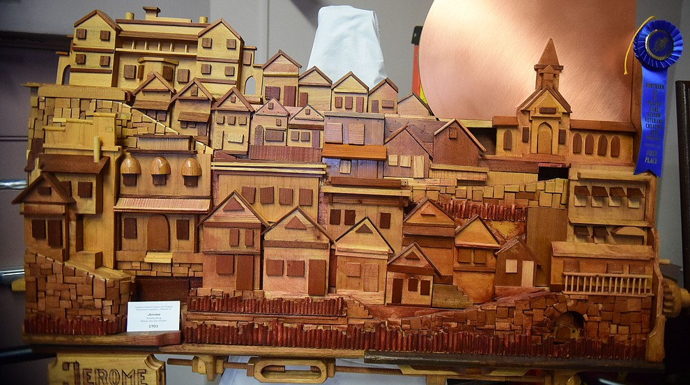 Willem Van Der Heyden created Jerome for the woodworking category at the Prescott VA Veteran's Creative Arts Festival Wednesday, Feb. 13, 2019. 128 pieces are on display at the 25th annual show being held in Building 15, theatre. (Les Stukenberg/Courier).