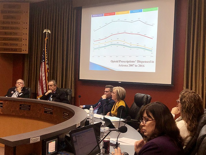 """In a 7-0 vote Tuesday, Feb. 12, the Prescott City Council authorized pursuing a civil lawsuit """"against those responsible for the wrongful manufacture and distribution of prescription opiates and damages caused thereby."""" (Cindy Barks/Courier)"""