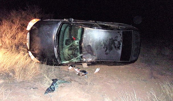 At about 1:30 a.m. Sunday, Yavapai County Sheriff's Office deputies found the black passenger vehicle resting on its side along the east section of the roadway.