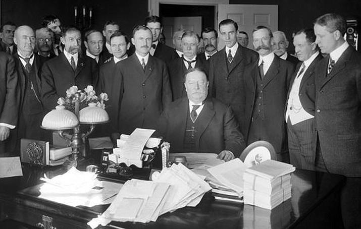 President William Howard Taft signed the Arizona Statehood Bill in Washington, D.C., on February 14, 1912. (Library of Congress photo)