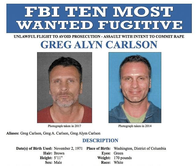 This undated file photos released on Thursday, Sept. 27, 2018 by the FBI shows an FBI wanted poster of Greg Alyn Carlson. The FBI tracked Carlson, a man they think was one of the country's 10 most-wanted fugitives, to a North Carolina motel, where agents shot and killed him on Wednesday, Feb. 13, 2019. (FBI)