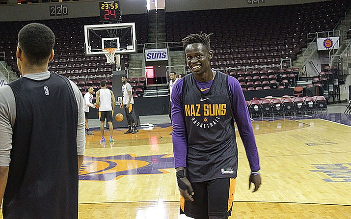 Northern Arizona Suns player Peter Jok smiles during practice for the Phoenix Suns G League affiliate in Prescott Valley. (Alec Henden/Cronkite News)