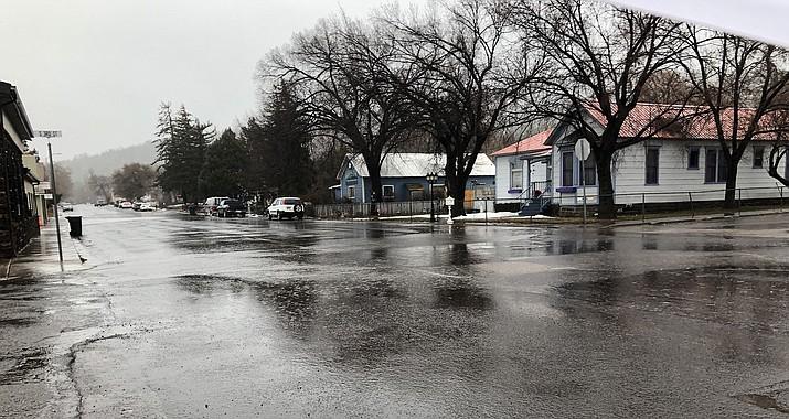 A steady rain has fallen all day in Williams.