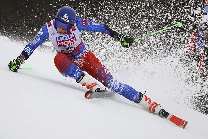 Slovakia's Petra Vlhova competes during the first run of the women's giant slalom, at the alpine ski World Championships in Are, Sweden, Thursday, Feb. 14, 2019. (Marco Trovati/AP)