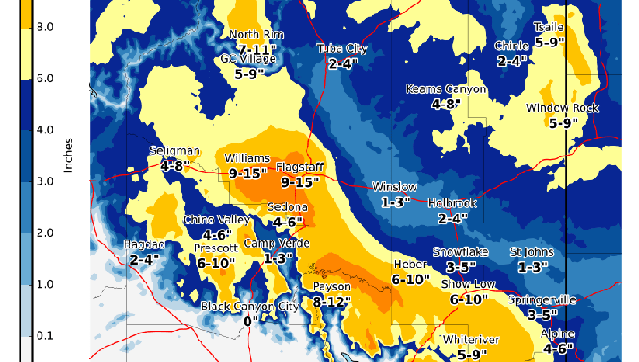 Heavy snow expected Sunday and Monday in northern Arizona