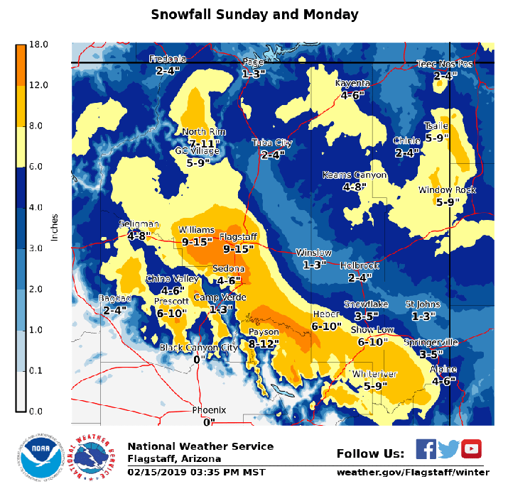 Heavy snow is forecast for Feb. 17 and 18.