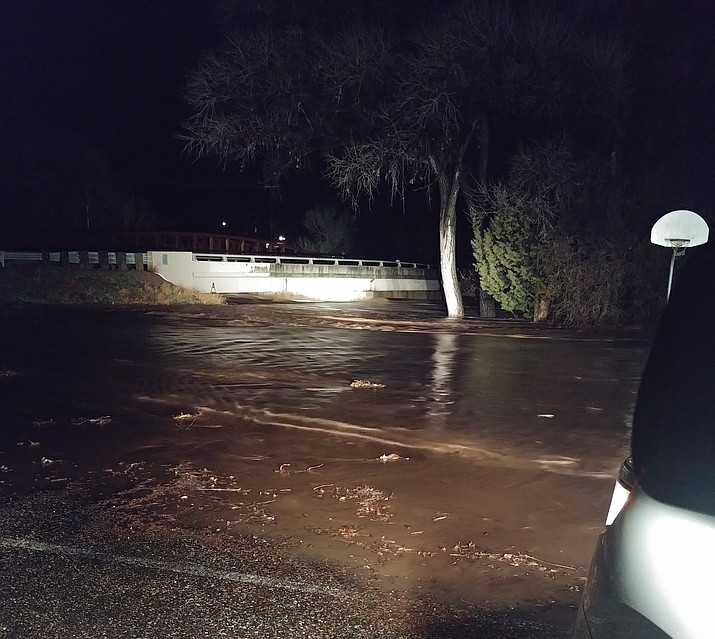 Water is nearly cresting the bridge at Sycamore Community Park in the 4100 block of Beaver Vista Road, Lake Montezuma, after heavy rains on Valentine's Day, Thursday, Feb. 14, 2019. (Yavapai County Sheriff's Office/Courtesy)