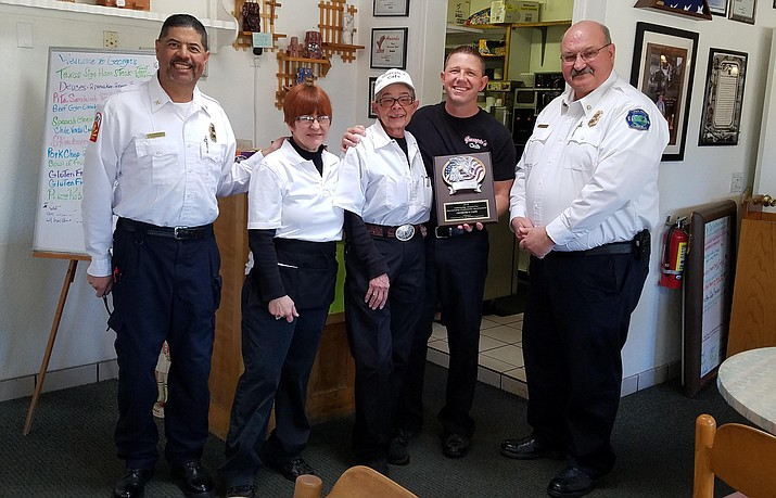 "The 2018 recipients of Cottonwood Fire & Medical Department's ""Community Outreach Award"" is Georgie's Café, located at 517 N. 12th Street in Cottonwood. Courtesy photo"