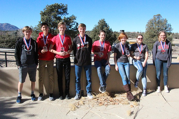 BASIS math team members who earned medals in the College Bowl during the Jan. 24 Yavapai County Mathematics Contest at Embry-Riddle Aeronautical University, from left, Theodore Fabian, Riley Lewis, Thomas Fabian, Joshua Inman, Hyde Bosley, Iyla Baker, Shalyssa Burns and Alissa Dent. (Courtesy/BASIS)