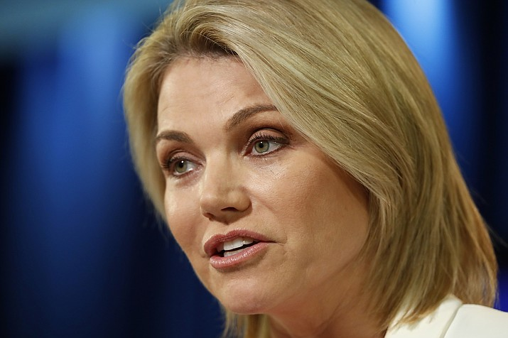 State Department spokeswoman Heather Nauert speaks during a briefing Aug. 9, 2017, at the State Department in Washington. The State Department says Nauert, picked by President Donald Trump to be the next U.S. ambassador to the United Nations but never officially nominated, has withdrawn her name from consideration on Saturday, Feb. 16, 2019. (Alex Brandon/AP, File)