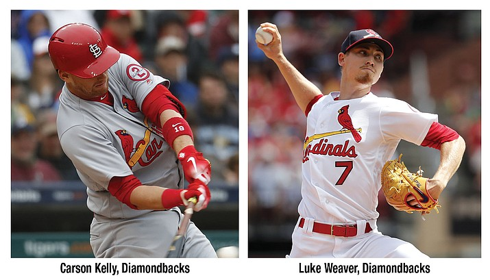 Carson Kelly, left, and Luke Weaver will always been known as the other players in the Paul Goldschmidt trade. No matter what they do for the rest of their careers, good or bad, they will be linked to the Arizona Diamondbacks' fan-favorite first baseman. (AP photos)