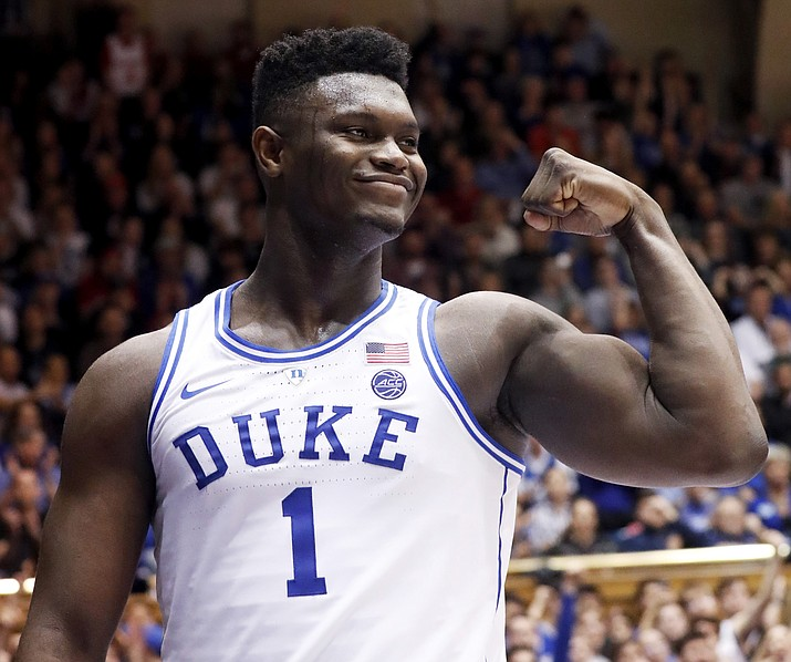 Duke's Zion Williamson (1) celebrates after he scored against North Carolina State during the second half of an NCAA college basketball game in Durham, N.C., Saturday, Feb. 16, 2019. (Chris Seward/AP)