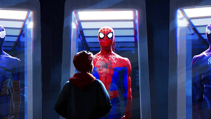 "This image released by Sony Pictures Animations shows a scene from ""Spider-Man: Into the Spider-Verse."" The film was nominated for an Oscar for best animated feature. The 91st Academy Awards will be held on Sunday. (Sony Pictures Animation via AP)"