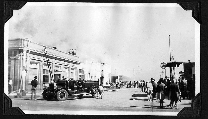 A fire breaks out at the Williams Motor Company on Second Street in June 1945. The building was located between the old bank and what is now Pine Country Restaurant. (Photo/Williams Library Historical Photo Archive/Messemer collection)